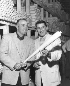 Duke Snider at the Louisville Slugger factory