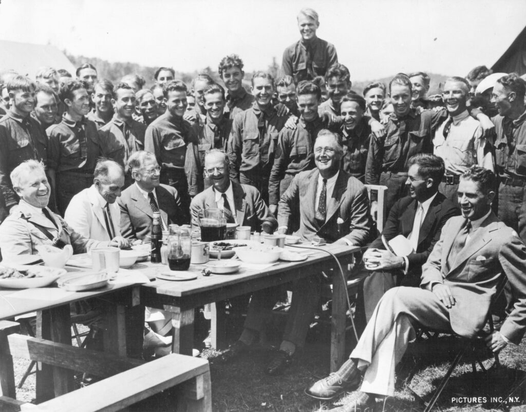 Roosevelt visits the first CCC camp