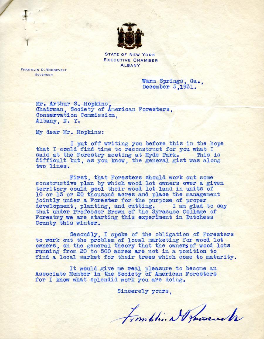 Franklin D. Roosevelt letter