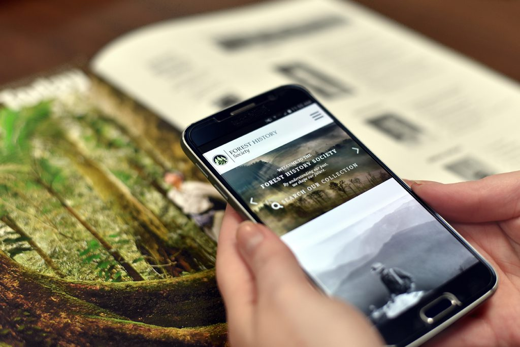 hands holding a smart phone with Forest History's home page open