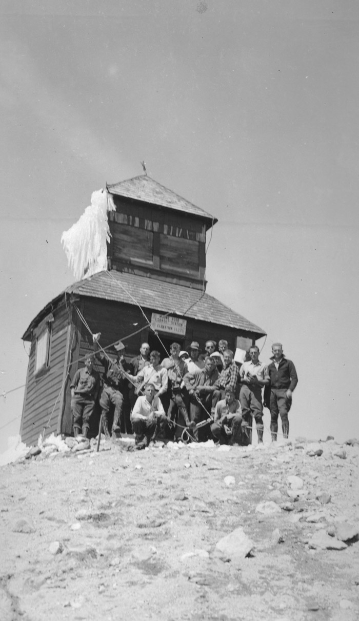 Group in front of Mt. Hood lookout station.