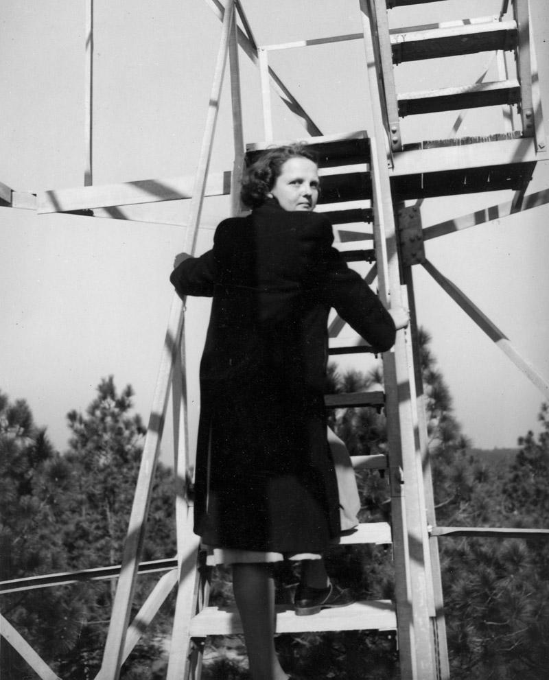 Mrs. Carson climbs the Gundlach Tower (Gundlock), Mississippi.
