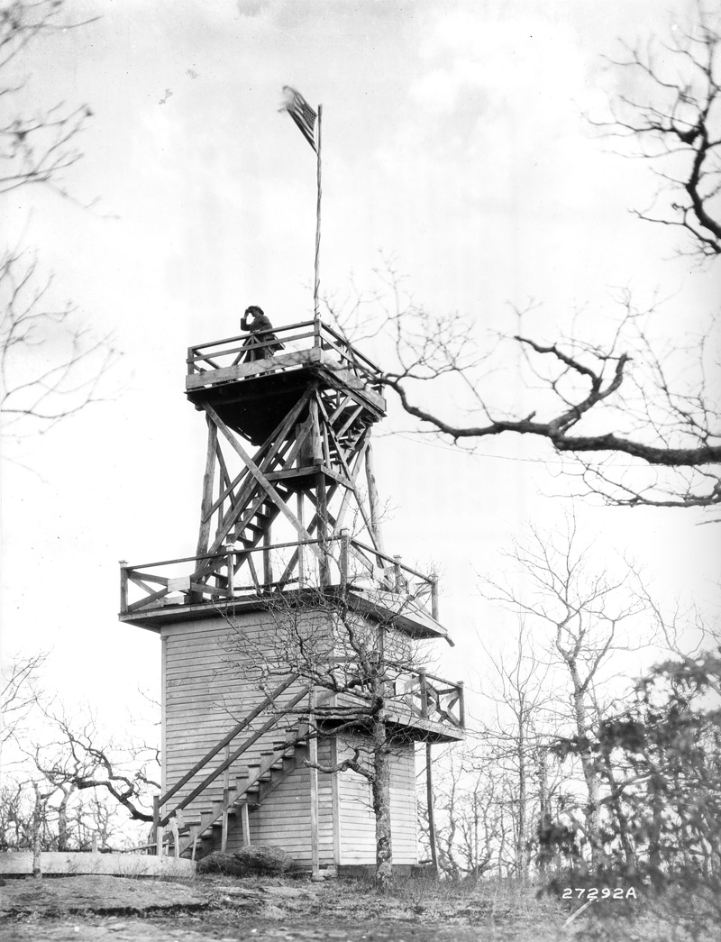 Fire lookout tower at Camp Parrydice, North Carolina.