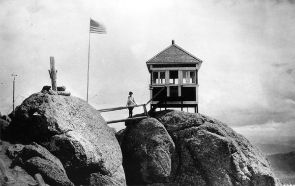Helen Dowe at the Devil's Head Fire Lookout, Pike National Forest, Colorado, 1919.