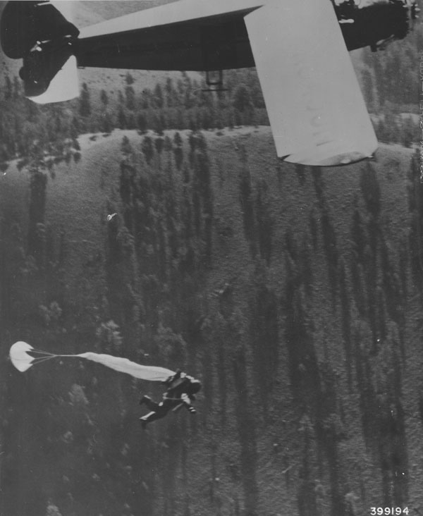 Smokejumper soon after leaving plane, Lolo National Forest, Montana.