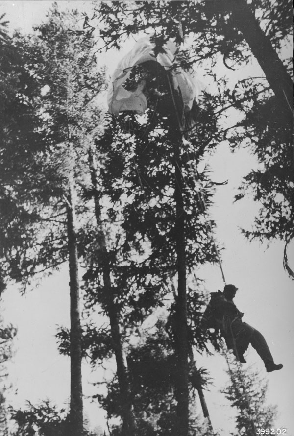 Smokejumper with parachute caught in a tree top.