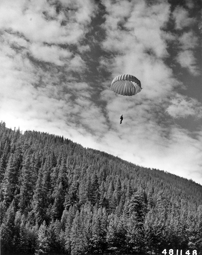 Smokejumper over Lolo National Forest, Montana.