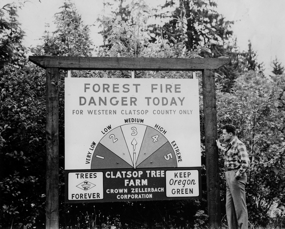 Forest Fire Weather Danger Meter sign.
