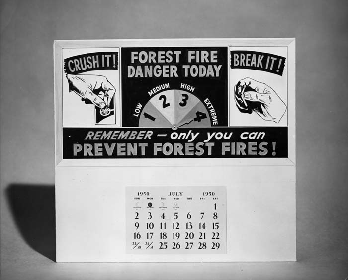 Fire danger calendar.