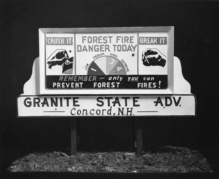 Fire danger indicator sign, Concord, NH.