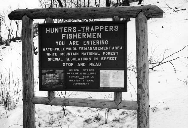 Entrance sign for Waterville Wildlife Management Area, White Mountain National Forest, New Hampshire, February 1941.