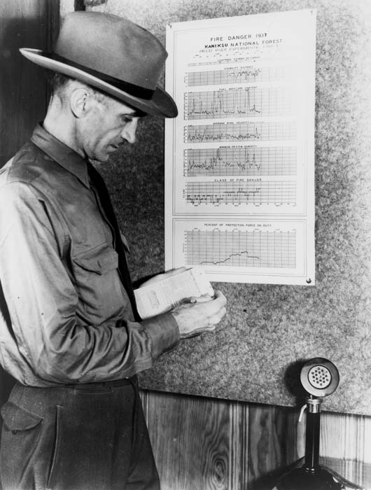 Harry T. Gisborne computing the daily fire-danger rating at Priest River Research Station, Idaho.