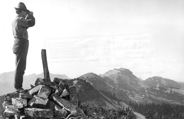 Ranger Gordon on Fire Patrol Duty, Squaw Peak Fire Lookout Station, Cabinet National Forest, Montana, 1909.