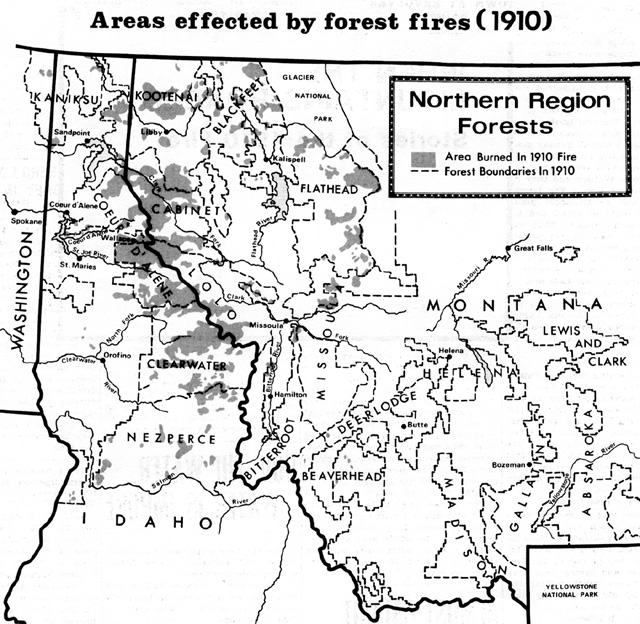 "Map of areas effected by the 1910 forest fires in Idaho, Montana, and Washington.  Image from ""When the Mountains Roared: Stories of the 1910 Fire"", a 1978 Forest Service publication."