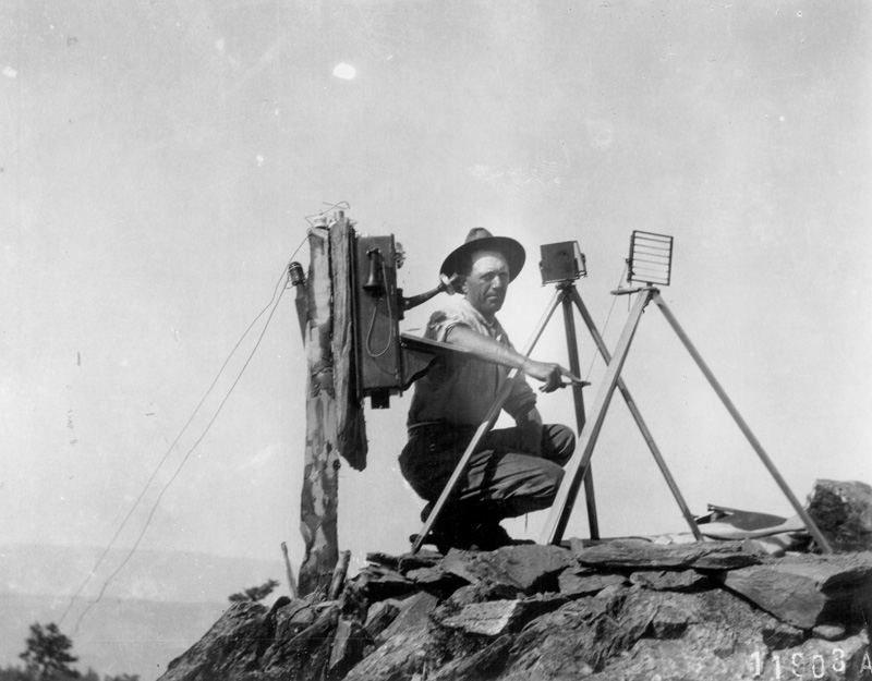 Fire lookout using heliograph.