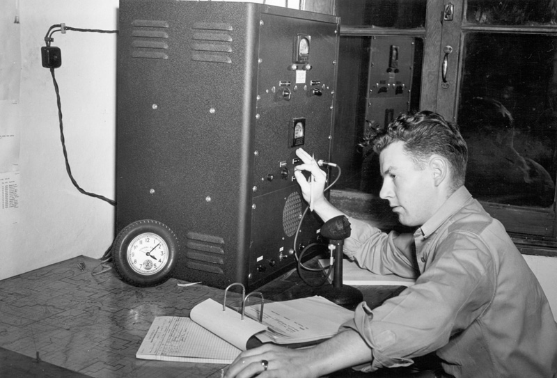 Radio for fire communications is operated by Edwin Quinn.
