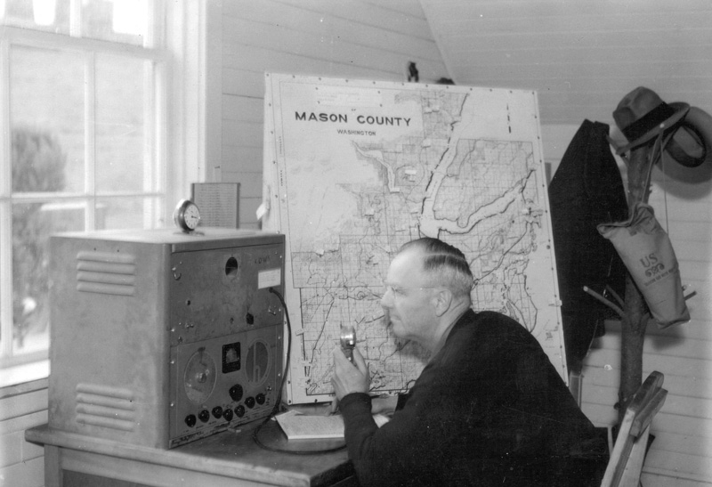 Fire dispatcher at work in Mason County, Washington.