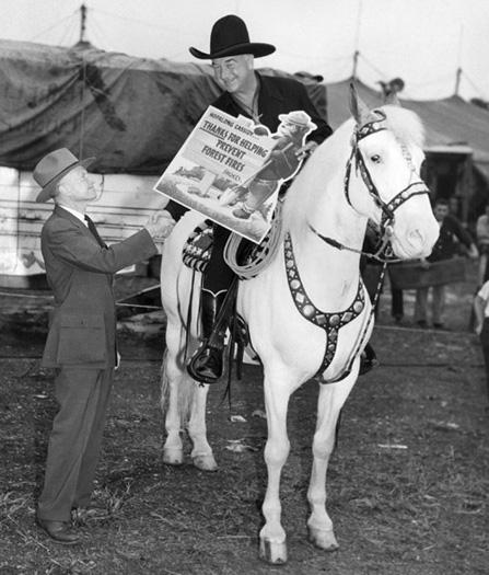 Smokey Bear visits Hopalong Cassidy, 1950.