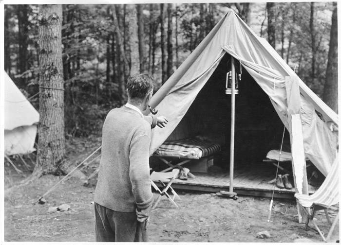 Caption [Penn State forestry professor John A. Ferguson from behind gesturing towards a student tent ca. 1922. Ferguson wrote on the back of the print ... & Education-Early Forestry Education-Penn State University - Forest ...