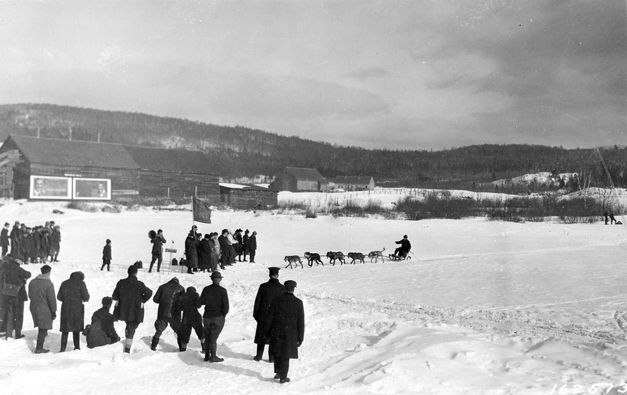 Finish line of international dog race on the Androscoggin River, Berlin, N.H.