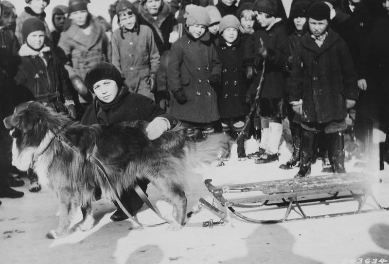 Joy Glattus and Buster, winners of single dog race, Munising, MI.