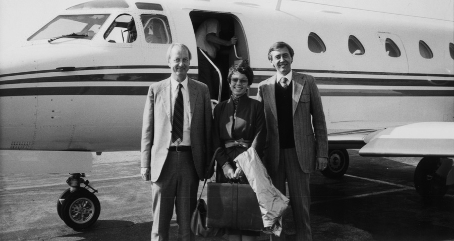 Left to right: Pete Steen, Lynn W. Day, and Ronald J. Fahl, 1982.