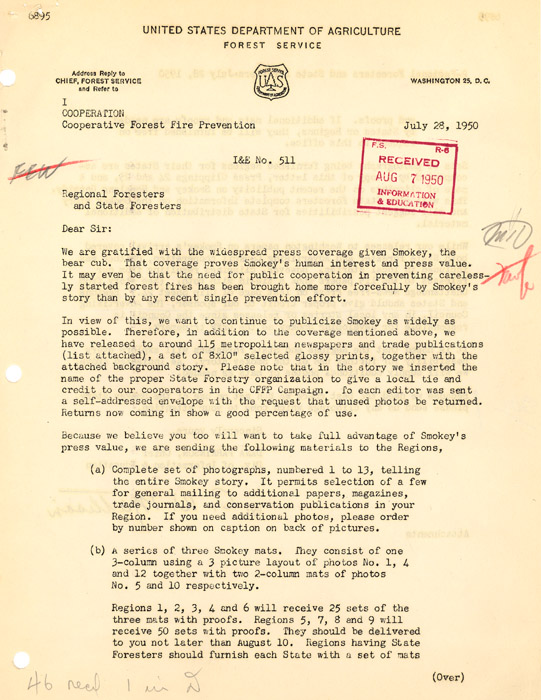 Letter distributed by U.S. Forest Service regarding Smokey Bear publicity, 1950.