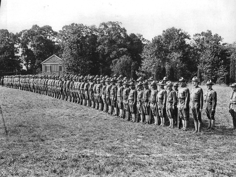 Company F, of the 10th Engineers on review.