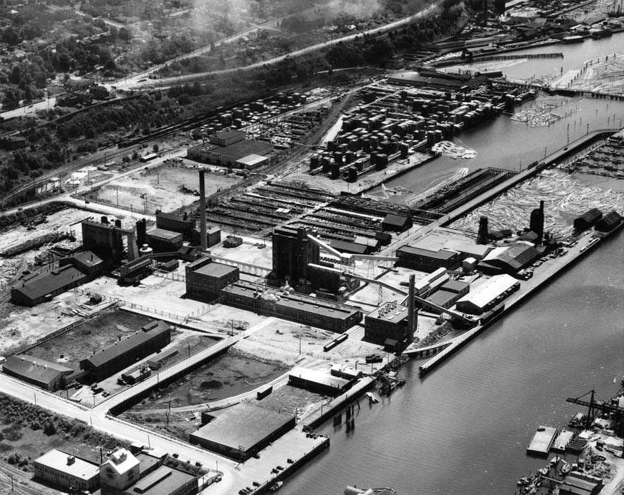 Aerial view of the Puget Sound Pulp and Timber Company facilities in Bellingham, Washington
