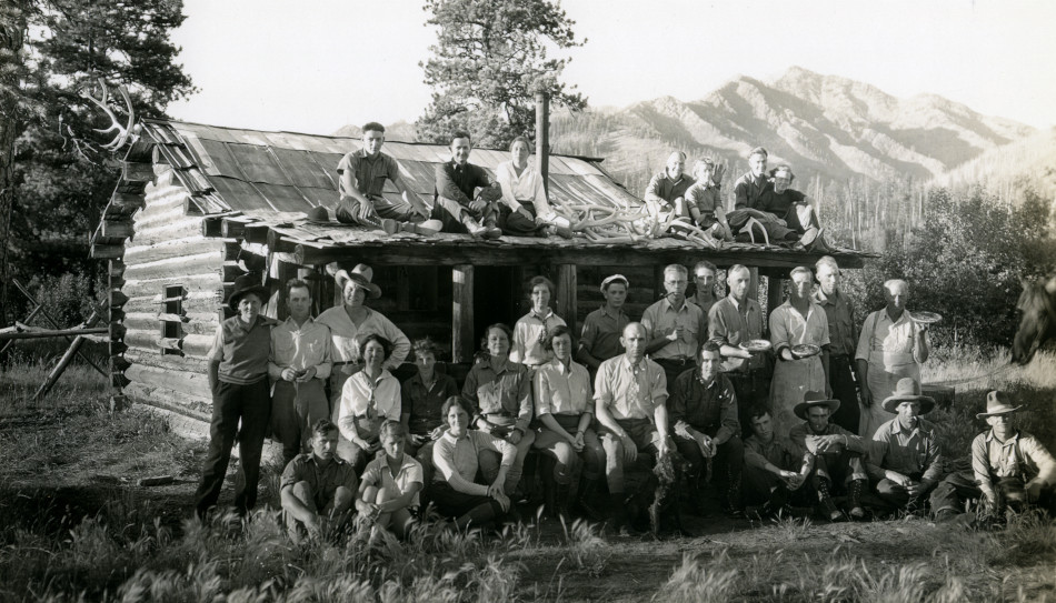 American Forestry Association's Trail Riders at one of Joe Murphy's cabins