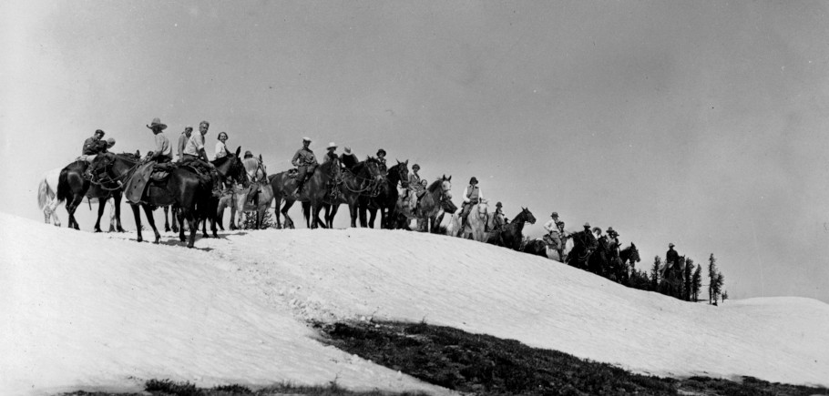 Trail Riders in a snow bank on top of Foolhen Mountain