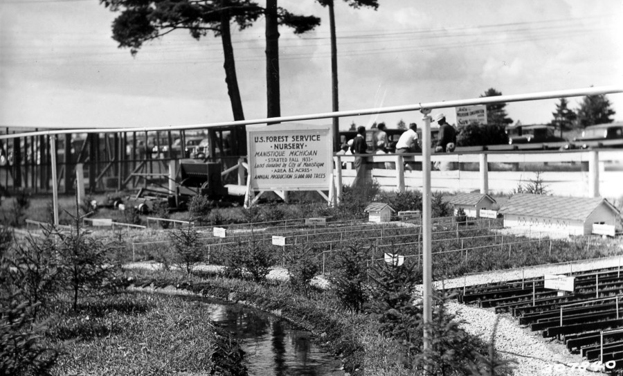 Miniature Manistique Nursery exhibit at Upper Peninsula Fair in Escanaba, Michigan, 1935.