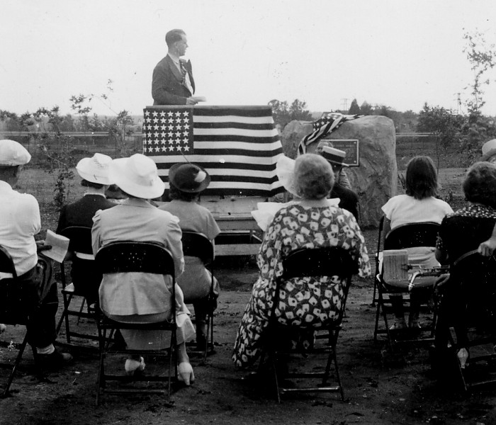 Clare W. Hendee, Ottawa Forest Supervisor, speaking at the James W. Toumey Nursery Dedication, July 10, 1937.