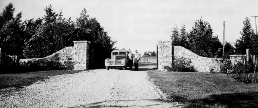 Entrance gate to Wyman Nursery in Manistique, 1940.