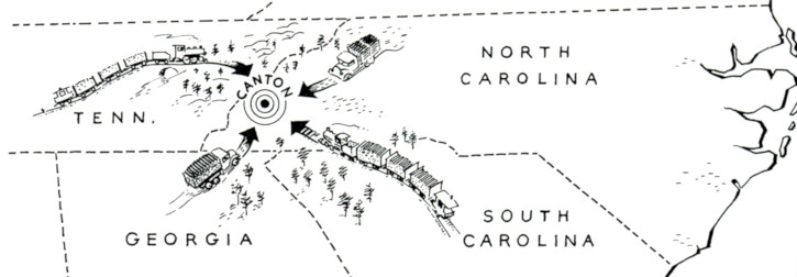 Canton. NC map