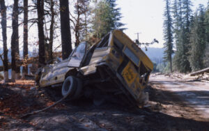Vehicle destroyed by Mount St. Helens' eruption, 1980