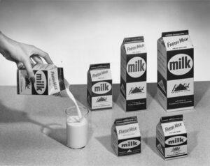 Pure-Pak milk cartons.
