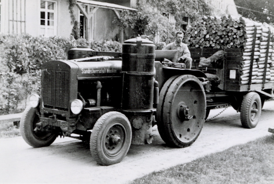[Tractor hauling small logs, Muskau, Germany.] [Photo from the Clarence Forsling Papers. Photos document Forsling's 1935 trip to Europe funded by the Carl Schurz Memorial Foundation and the Oberlaender Trust.]