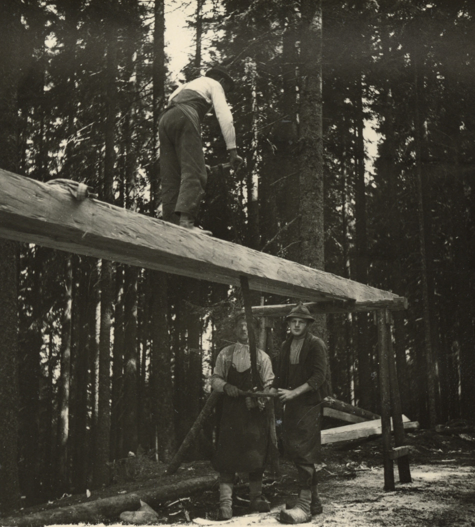 [Men sawing log.][Photo from the Clarence Forsling Papers. Photos document Forsling's 1935 trip to Europe funded by the Carl Schurz Memorial Foundation and the Oberlaender Trust.]