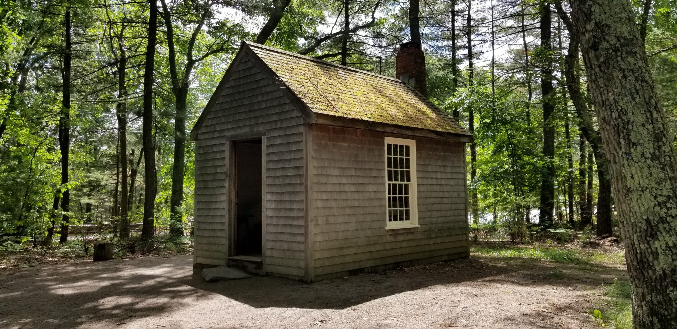 The re-created cabin of Henry David Thoreau at Walden Pond.