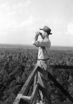 Ranger Bryce Ledford at Yellowpin lookout, Sabine National Forest, Texas.
