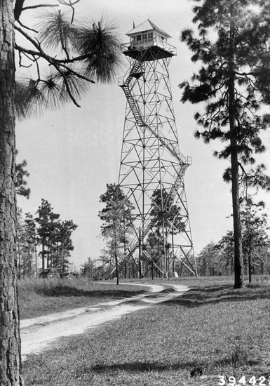 Open Pond lookout tower, Conecuh National Forest, Alabama, 1940.