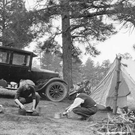 Camping on Manzano National Forest, New Mexico, 1924.