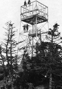 Carter Dome lookout tower under construction, New Hampshire, 1925.