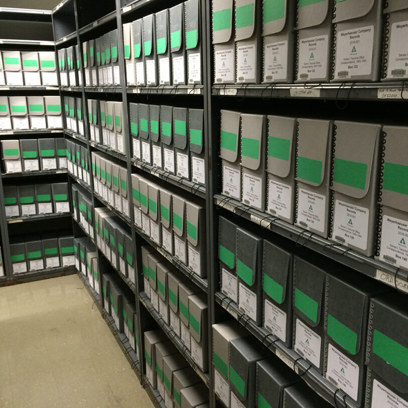 library archive shelves